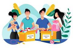 Toys and kids clothes donation. Vector trendy flat cartoon illustration. Social care, volunteering and charity concept royalty free illustration