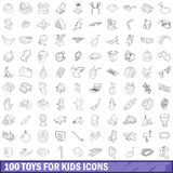 100 toys for kids cons set, outline style Royalty Free Stock Images