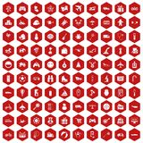 100 toys for kids icons hexagon red Stock Photo