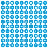 100 toys for kids icons set blue. 100 toys for kids icons set in blue hexagon isolated vector illustration Royalty Free Illustration