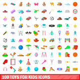 100 toys for kids icons set, cartoon style Stock Photos