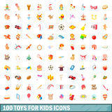 100 toys for kids icons set, cartoon style. 100 toys for kids icons set in cartoon style for any design vector illustration Stock Illustration