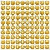 100 toys for kids icons set gold. 100 toys for kids icons set in gold circle isolated on white vector illustration Royalty Free Stock Photo