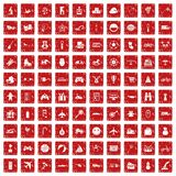 100 toys for kids icons set grunge red Stock Image