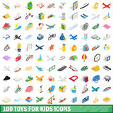 100 toys for kids icons set, isometric 3d style. 100 toys for kids icons set in isometric 3d style for any design vector illustration Stock Photography