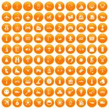 100 toys for kids icons set orange. 100 toys for kids icons set in orange circle isolated on white vector illustration Vector Illustration