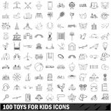100 toys for kids icons set, outline style. 100 toys for kids icons set in outline style for any design vector illustration royalty free illustration
