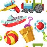 Toys of kids, marine ship vessel small model and locomotive stock illustration