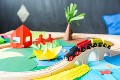 Toys in the kindergarden. Colourful toys made of paper in the kindergarden Stock Photography