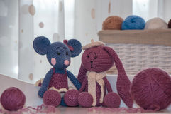 Toys knitted hook, mouse and rabbit Royalty Free Stock Photo