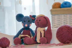 Toys knitted hook, mouse and rabbit Royalty Free Stock Image