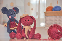 Toys knitted hook, mouse and rabbit Stock Photo