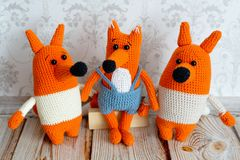 Amigurumi toys. Foxes family Royalty Free Stock Images