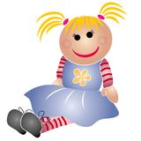 Toys - Little Girl Doll Dress. A simple clip art illustration of a little girl doll toy with blonde hair, button eyes and wearing a blue dress and a striped Stock Photos