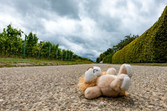 Toys lying on the street stock images