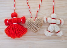 Toys made of red and white threads. Stock Photography