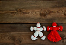 Toys made of red and white threads Stock Image