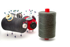 Toys made of threads with each other over white Stock Photography