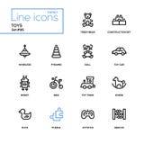 Toys - modern vector line design icons set. Toys - modern line design icons set. High quality pictograms on white background. Teddy bear, construction set royalty free illustration