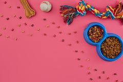 Toys -multi coloured rope, ball, dry food and bone. Accessories for play on pink background top view royalty free stock image