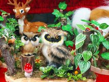 Toys and nature imitation - animals and vegetables Stock Photography