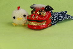 Toys,New Year and chick of yarn. Chinese zodiac for the New Year and Rooster (Chick Stock Photos