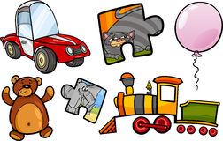 Toys objects cartoon illustration set Royalty Free Stock Image
