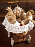 Toys in old cradle Stock Photography