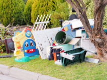 Toys and other items for hard rubbish collect Royalty Free Stock Photo