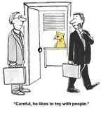 Toys With People. Business cartoon about a boss cat who toys with people Royalty Free Stock Photos