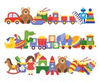 Toys pile. Groups of children plastic game kids toys elephant teddy bear train rocket ship doll dino vector. Set royalty free illustration
