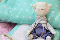 Toys, pillows and blankets for the nursery Stock Photo