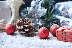 Toys and presents on a snow background Royalty Free Stock Photos