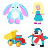 Toys Produced at Santa Factory Vector Illustration. Toys produced at Santa factory, bunny with long ears, girl with blonde hair, truck and penguin with red scarf Royalty Free Stock Photos