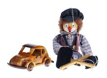 Toys. Puppet on a String - studio isolated photo Royalty Free Stock Photo