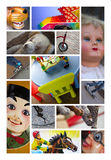 Toys and puppets. Various toys and puppets on a collage Stock Photo
