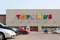 Toys R Us sign. Photo taken September 19, 2017 in Pointe Claire Canada on the day the toy big box store filed for bankruptcy protection in the United States and Stock Photo