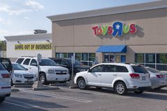 TOYS R US stores going out of business, Fayetteville, NC, USA - 11 April 2018. Toys R Us is going out of business and must liquidate everything Royalty Free Stock Images