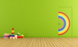 Toys room. Colorful doors flush with the wall in a toys room Stock Photography