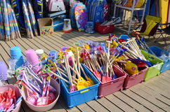 Toys for sale at a beach shop. A display of beach toys for sale Royalty Free Stock Photo