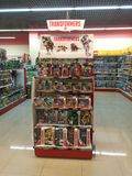Toys for sale in a store. Transformer toys on the supermarket shelves Stock Image