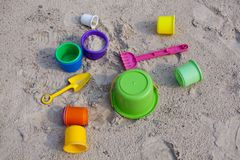 Toys on sand Stock Photos