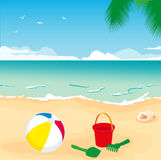 Toys on sand Royalty Free Stock Images