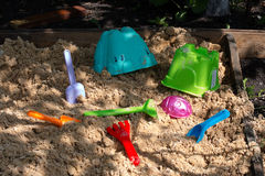 Toys are in the sandbox Royalty Free Stock Images