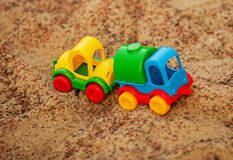 Toys in the sandbox Stock Images