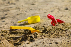 Toys in the sandbox. Colorful toys in the sandbox Royalty Free Stock Photography