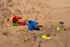 Toys on a sandy beach in the desert. Playthings for children as seen at lake powell, utah Royalty Free Stock Photography