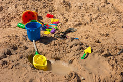 Toys on a sandy beach in the desert. Playthings for children as seen at lake powell, utah Royalty Free Stock Photo