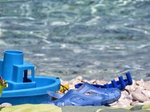 Toys on the sea. A detail of some tot on the sea Stock Photography