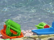 Toys on the sea. A detail of some toy on the sea Royalty Free Stock Image